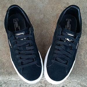 Puma suede black white platform sneakers sz 9